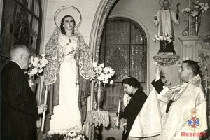 Bendición de la Virgen de Gracia, capilla del Hospital Militar de Málaga, 9 de diciembre de1956.