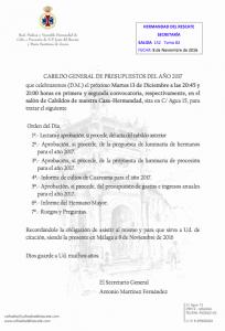 Convocatoria de Cabildo, 13 de diciembre de 2016