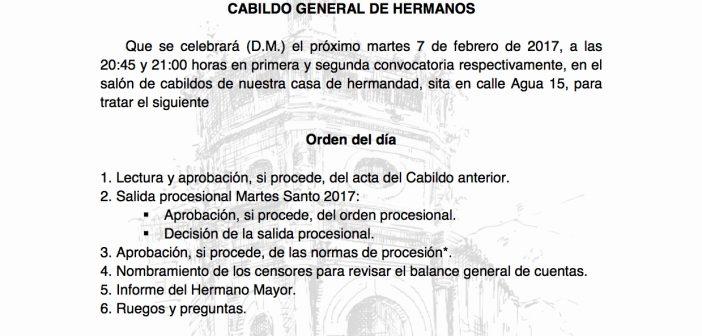 Cabildo de salida procesional, 7 de febrero
