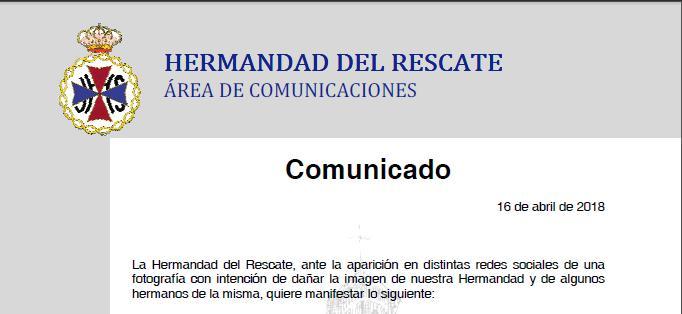Comunicado de la Hermandad del Rescate