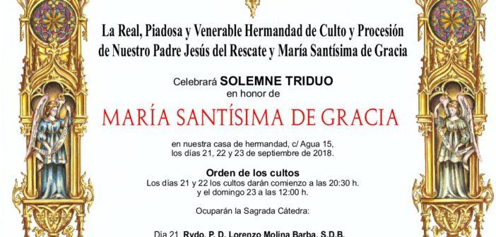Triduo en honor a María Santísima de Gracia