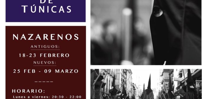 Nazarenos, recogida de túnicas y reuniones 2019