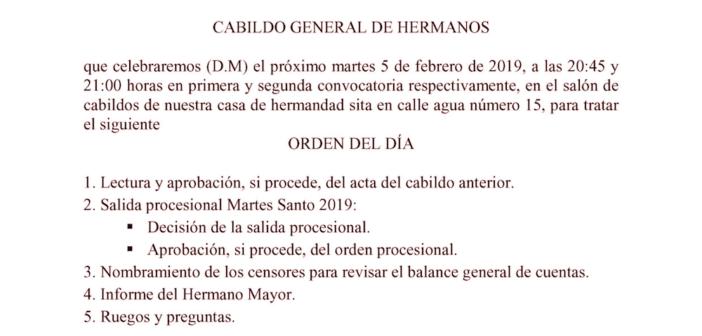 Cabildo de salida procesional, 5 de febrero 2019