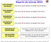 Reparto de túnicas, actos y cultos Cuaresma 2019