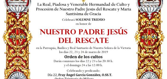 Triduo en honor a Jesús del Rescate y traslado al Santuario de la Victoria