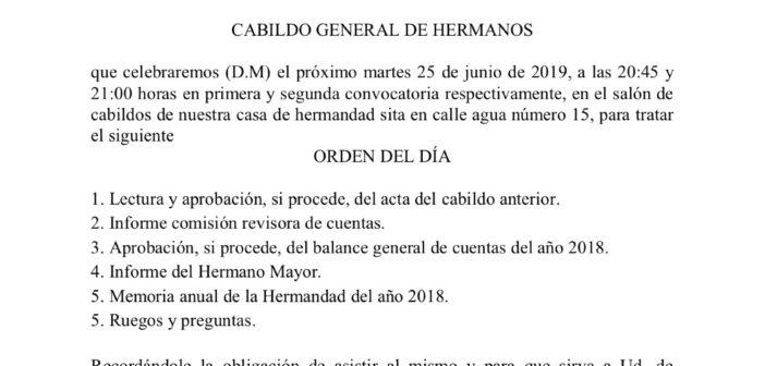 Cabildo general de hermanos, 25 de junio de 2019