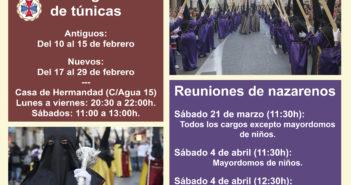 Recogida de túnicas y reuniones de nazarenos 2020