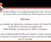 La Hermandad del Rescate realiza una aportación económica a Cáritas parroquial de San Pío X