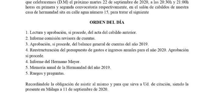 Cabildo General de hermanos, 22 de septiembre de 2020
