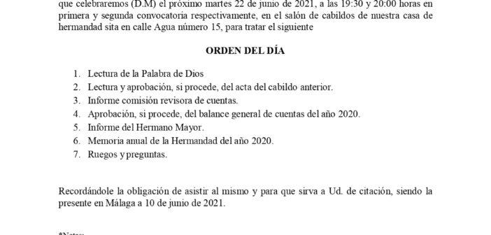 Cabildo general de hermanos, 22 de junio de 2021